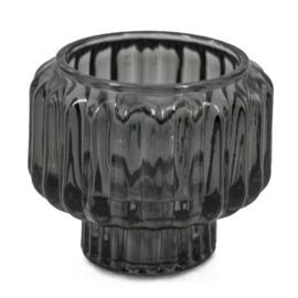 Waxinelichtje/kaarsenstandaard glas - Antraciet