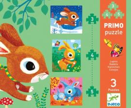 Djeco - Primo 3 puzzels - Konijn