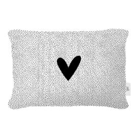 Buitenkussen - Wit met zwart hart - 60 x 40cm
