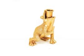 Kandelaar - Kikkerprins Goud 10,5x14x11cm