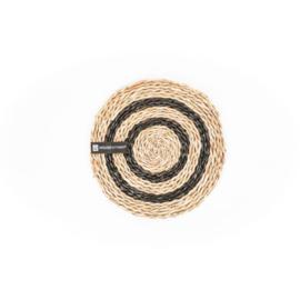 Placemat - Zeegras zwarte strepen - 30cm