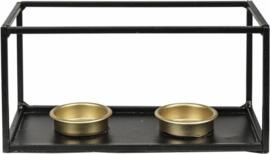 Metalen theelichthouder 18,5x9x9cm