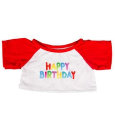 "HAPPY BIRTHDAY"" T-SHIRT W/RED SLEEVES"