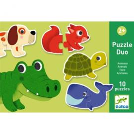 Djeco - Puzzel duo - Dieren - 10 x 2 stukjes