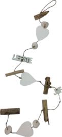 Decoratie slinger - Voor de liefste juf - 3 harten