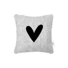 Buitenkussen - Wit met zwart hart - 40 x 40cm