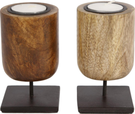 Sfeerlicht mango hout metalen pin - 11cm  (Per stuk)