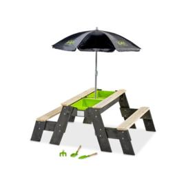 EXIT-  Aksent zand-, water- en picknicktafel (2 bankjes) met parasol en tuingereedschap