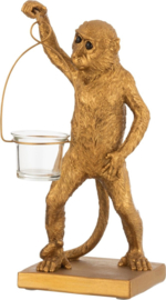 Theelichthouder Aap - goud - H 30 cm