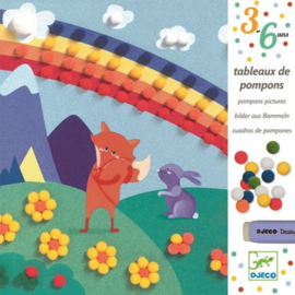 Djeco - collages met pompons - droomwereld
