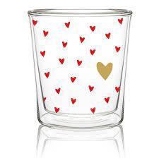 Dubbelwandige Glas - Little Hearts real gold