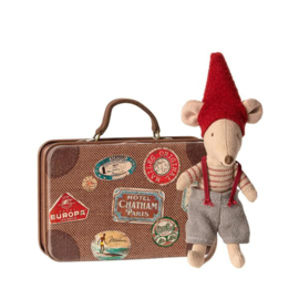 Knuffelmuis kleine broer - Christmas Mouse in Suitcase - 10 cm