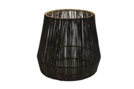 Draadlantaarn 15cm glas zwart/goud - M