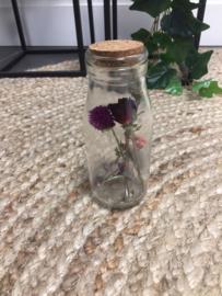 Gedroogde Bloemen in melkflesje - 14cm