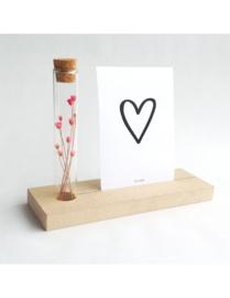 Memory Shelf - Vaasje droogbloemen - Kaart - Hartje