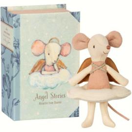 Knuffelmuis grote zus - Engel in boek - 12cm