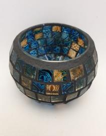 Theelichtje - Blauw Goud Glas - Rond 6 cm
