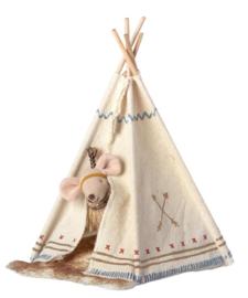 Maileg - Knuffelmuis kleine zus - Little Feather met Tent