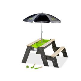 EXIT Aksent zand-, water- en picknicktafel (1 bankje) met parasol en tuingereedschap
