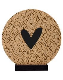 Muurcirkel -  Kurk rond met hartje en dots patroon