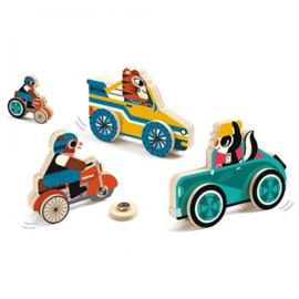 Djeco - Puzzel dieren en voertuigen op wielen
