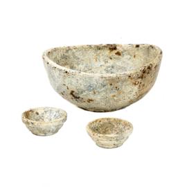 The Burned Curved Bowls - Antiek - Set van 3
