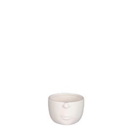 Bloempotje gezicht - Wit - 11 x 10 x 7 cm