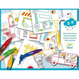 Djeco - Kleuren en tekenen - Een wereld om te maken - Auto's
