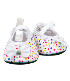 WHITE MULTI COLOR DOTS HIGH HEELS