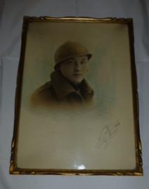 Ingelijst portret Belgische soldaat  1934
