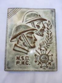 Belgische plaquette  oudstrijders  wo1