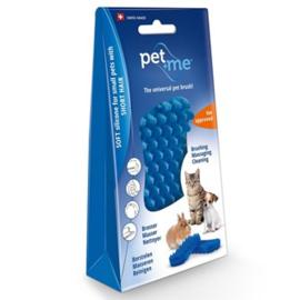 Pet+Me Korte haren borstel - kleine hond (blauw)