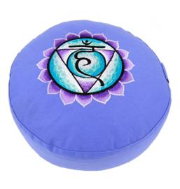 Meditatiekussen met geborduurd symbool Chakra 5