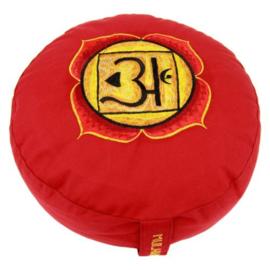 Meditatiekussen met geborduurd symbool Chakra 1