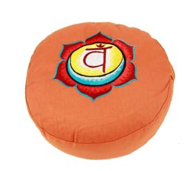 Meditatiekussen met geborduurd symbool Chakra 2