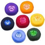 Meditatiekussen met geborduurd symbool Chakra set van 7