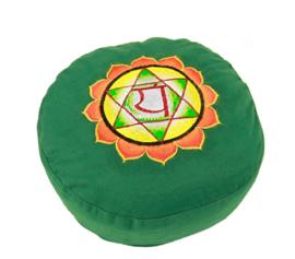 Meditatiekussen met geborduurd symbool Chakra 4