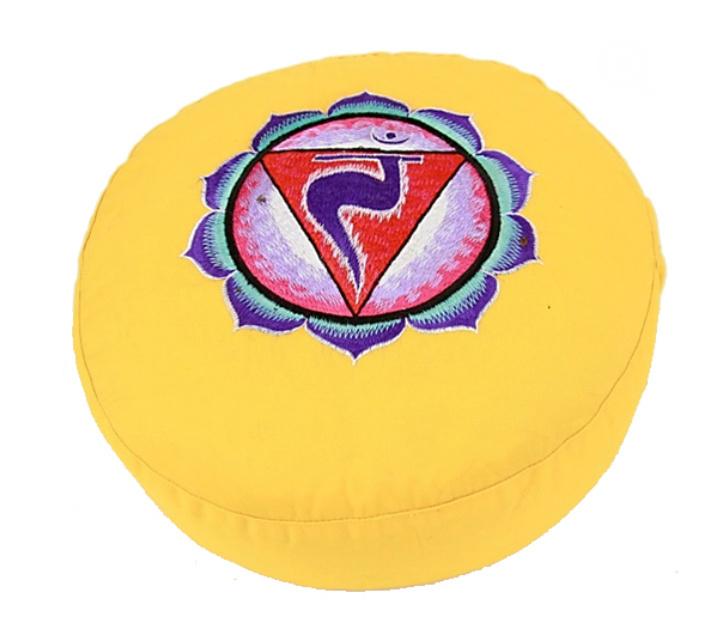 Meditatiekussen met geborduurd symbool Chakra 3