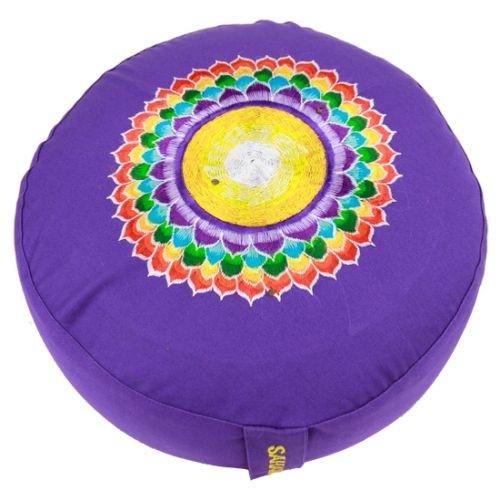 Meditatiekussen met geborduurd symbool Chakra 7