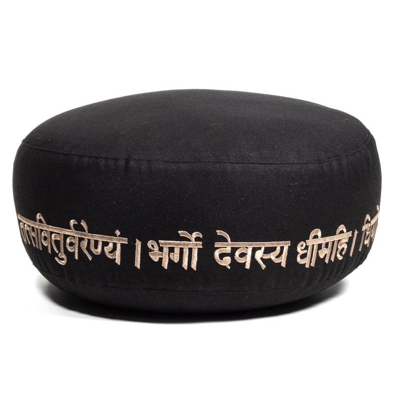 Meditatiekussen Bio katoen met geborduurd symbool Gayatri Mantra