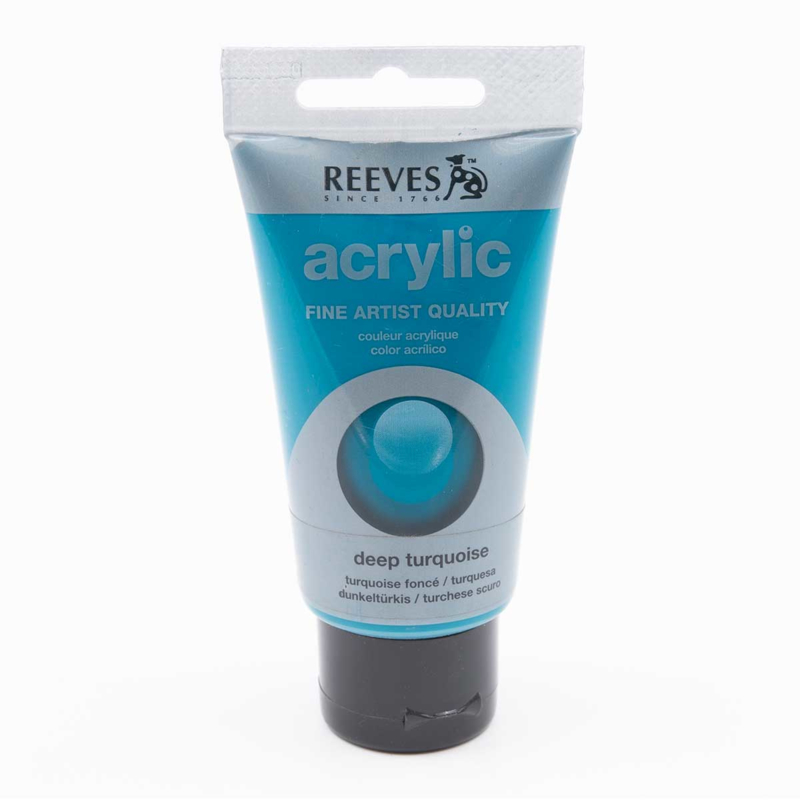 Reeves Acrylic Paint Deep Turquoise, tube 75 ml