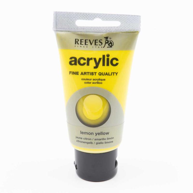 Reeves Acrylic Paint Lemon Yellow, tube 75 ml