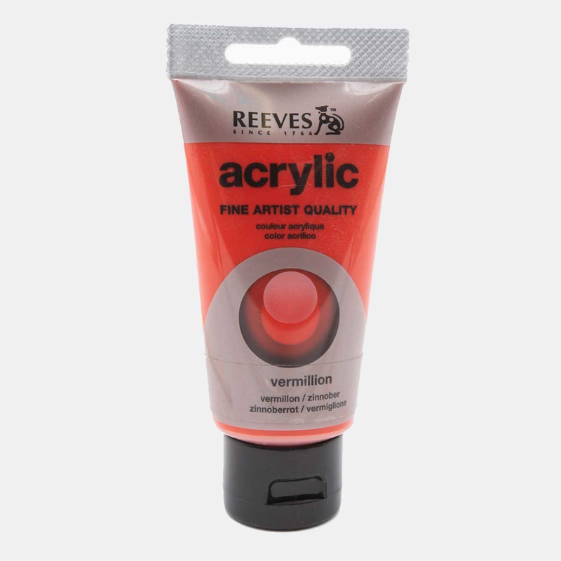 Reeves Acrylic Paint Vermillion, tube 75 ml