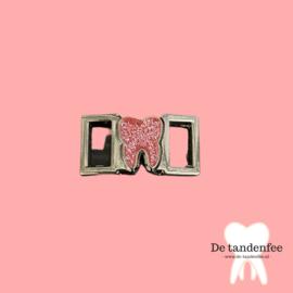Shoe charm pink&silver