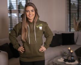 Tooth plant hoodie army groen
