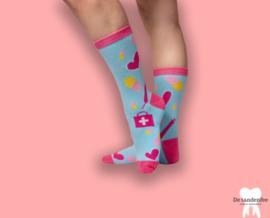 Zorgfee sokken blauw roze