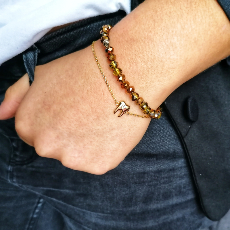 Toothy bracelet 18k gold plated