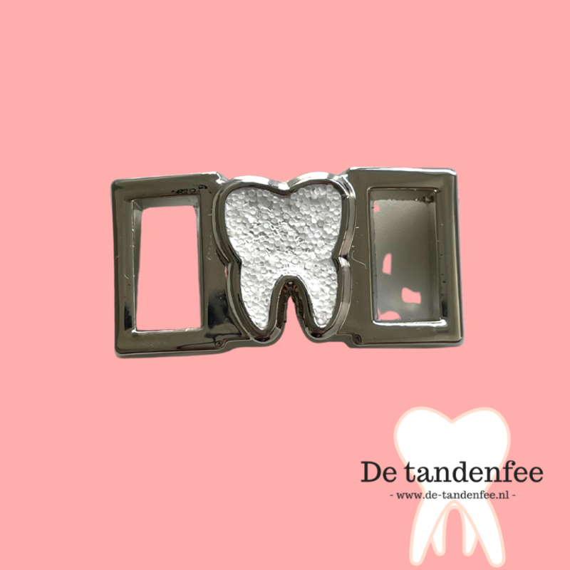 Shoe charm silver glitter tooth