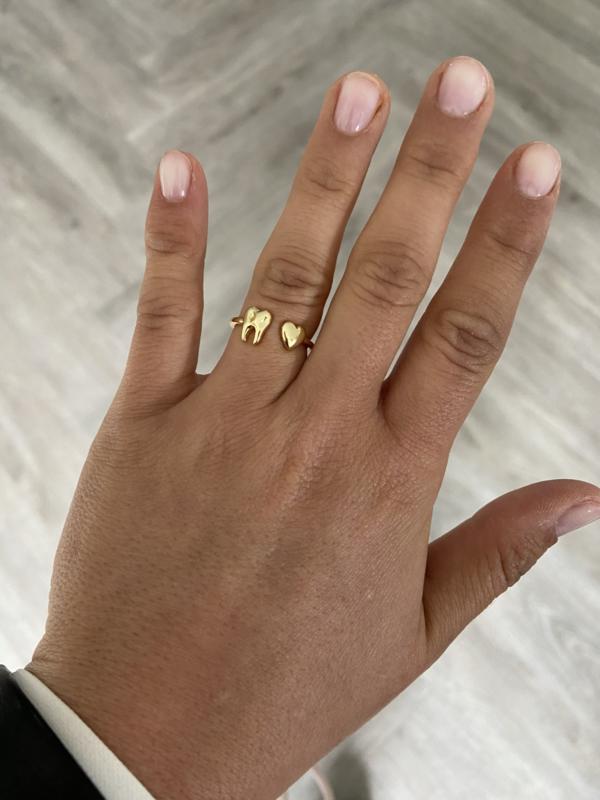 'Love teeth' ring goud
