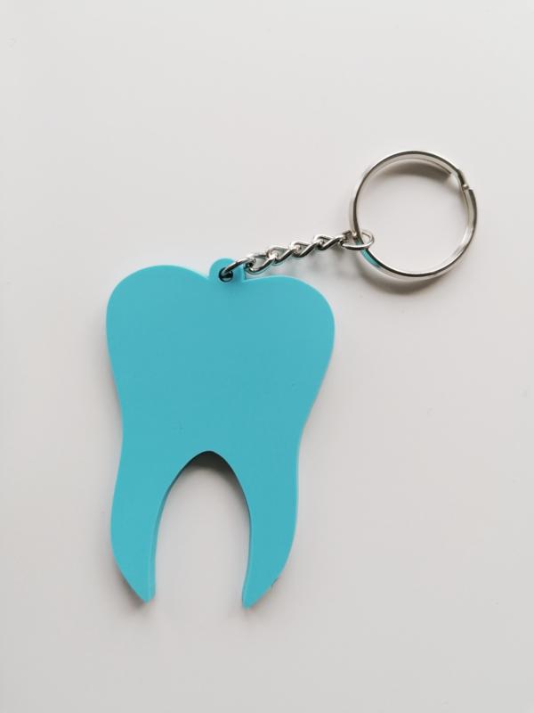 Sleutelhanger tand blauw